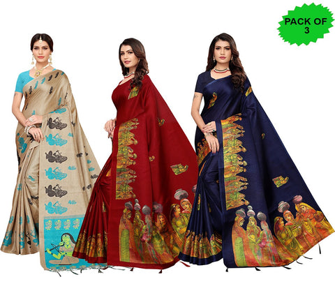 Pack of 3 - Multi Color Khadi Jhalor Women's Sarees - S183229, S184820, S184826