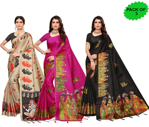 Pack of 3 - Multi Color Khadi Jhalor Women's Sarees - S183230, S184822, S184824