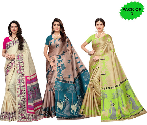 Pack of 3 - Multi Color Khadi Silk Women's Sarees - S181588, S185034, S183241