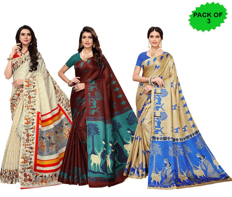 Pack of 3 - Multi Color Khadi Silk Women's Sarees - S181589, S185033, S183239