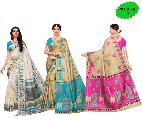 Pack of 3 - Multi Color Khadi Silk Women's Sarees - S181590, S183240, S183242