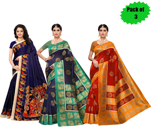 Pack of 3 - Multi Color Art Silk Women's Sarees - S181785, S184815, S184812