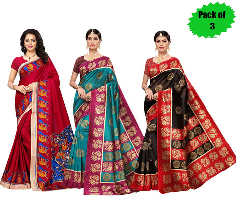 Pack of 3 - Multi Color Art Silk Women's Sarees - S181786, S184814, S184813