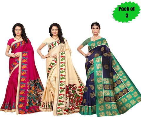 Pack of 3 - Multi Color Art Silk Women's Sarees - S184813, S181783, S184815