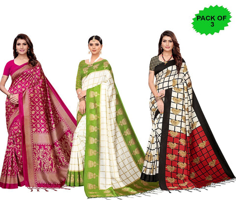 Pack of 3 - Multi Color Art Silk Jhalor Women's Sarees - S182577, S183177, S183779