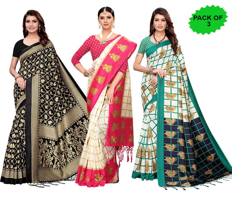 Pack of 3 - Multi Color Art Silk Jhalor Women's Sarees - S182578, S183178, S183780