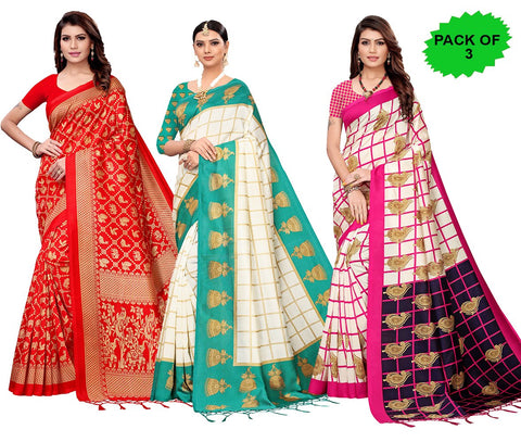 Pack of 3 - Multi Color Art Silk Jhalor Women's Sarees - S182579, S183179, S183785