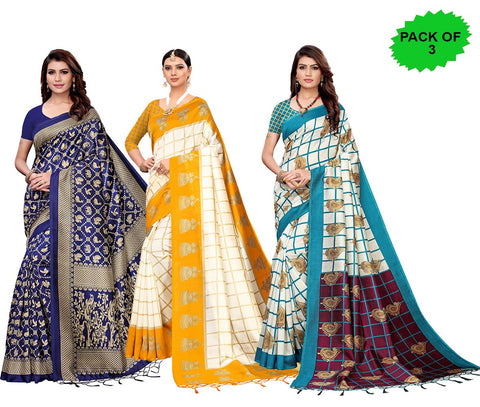 Pack of 3 - Multi Color Art Silk Jhalor Women's Sarees - S182580, S183180, S183781
