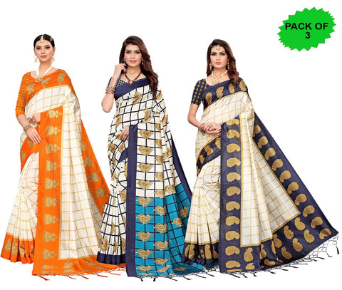 Pack of 3 - Multi Color Art Silk Jhalor Women's Sarees - S183182, S183783, S183218