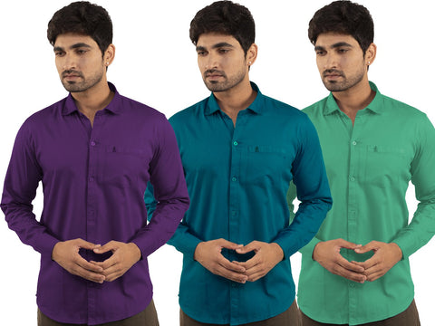3 Combo Shirts Purple, Sea Green and Parrot Green - 1ABF-PR-SG-PG