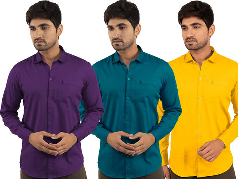3 Combo Shirts Purple, Sea Green and Yellow - 1ABF-PR-SG-YW