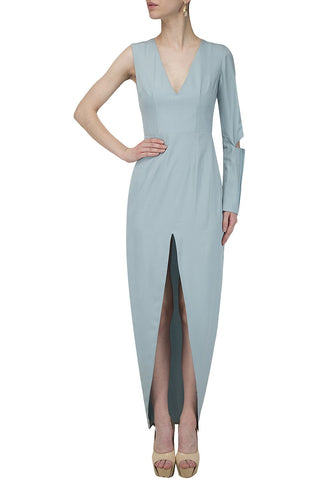 Sky Blue Color Creap Stitched Dress - PR01