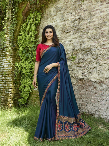 Navy Blue Color Georgette Saree - PRCHN19593