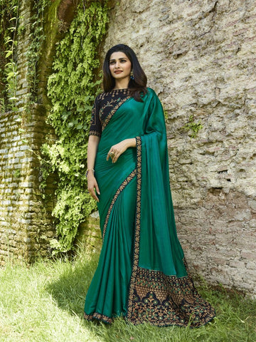 Teal Green Color Silk Blend Saree - PRCHN19595