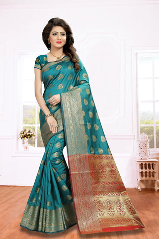 Teal Green Color Silk Blend Saree - PRIM112