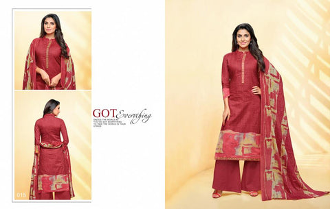 Maroon Color Cotton Blend UnStitched Salwar  - PRNT015