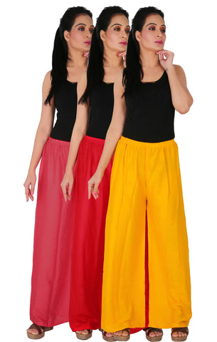 Pack Of 3 Rayon Palazzos - PRY
