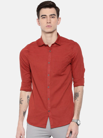 Maroon Color Cotton Linen Men's Plain Shirt - PUR341G