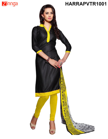 Black Color Bangalore Silk Dress Material - PVTR1001
