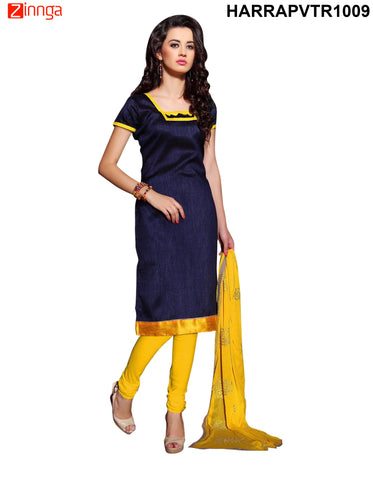 Navy Blue Color Bangalore Silk Dress Material - PVTR1009