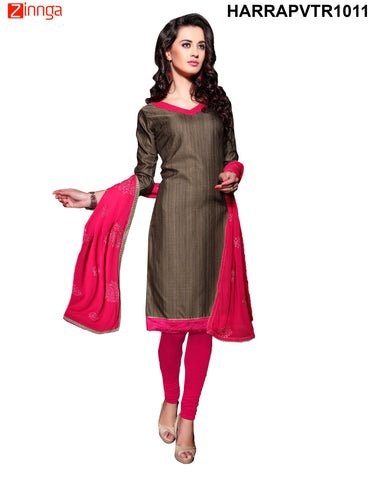 Brown Color Bangalore Silk Dress Material - PVTR1011