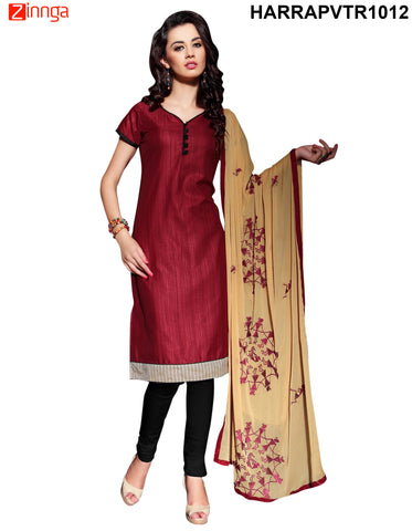 Maroon Colo Bangalore Silk Dress Material - PVTR1012