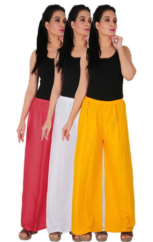 Pack Of 3 Rayon Palazzos - PWY