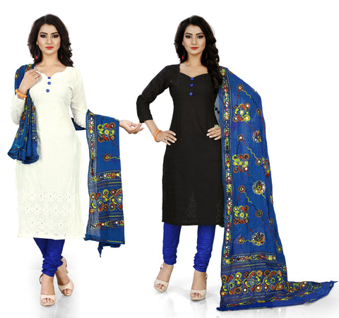 White and Black Color Pure Cotton Un Stitched Salwar - Pack-Of-2-White-Blue-Black-Blue