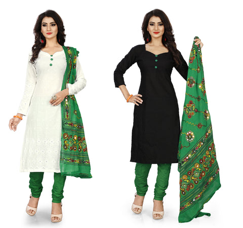 White and Black Color Pure Cotton Un Stitched Salwar - Pack-Of-2-White-Green-Black-Green