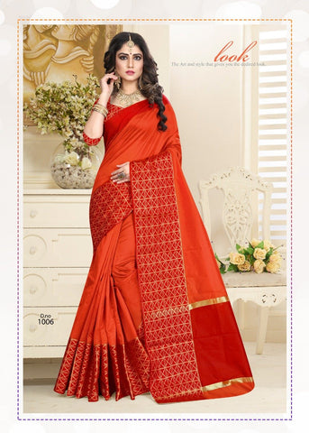 Orange Color Cotton jacquard Saree  - Padmavat-4