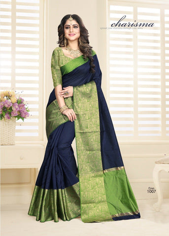 Navy Blue Color Cotton jacquard Saree  - Padmavat-5