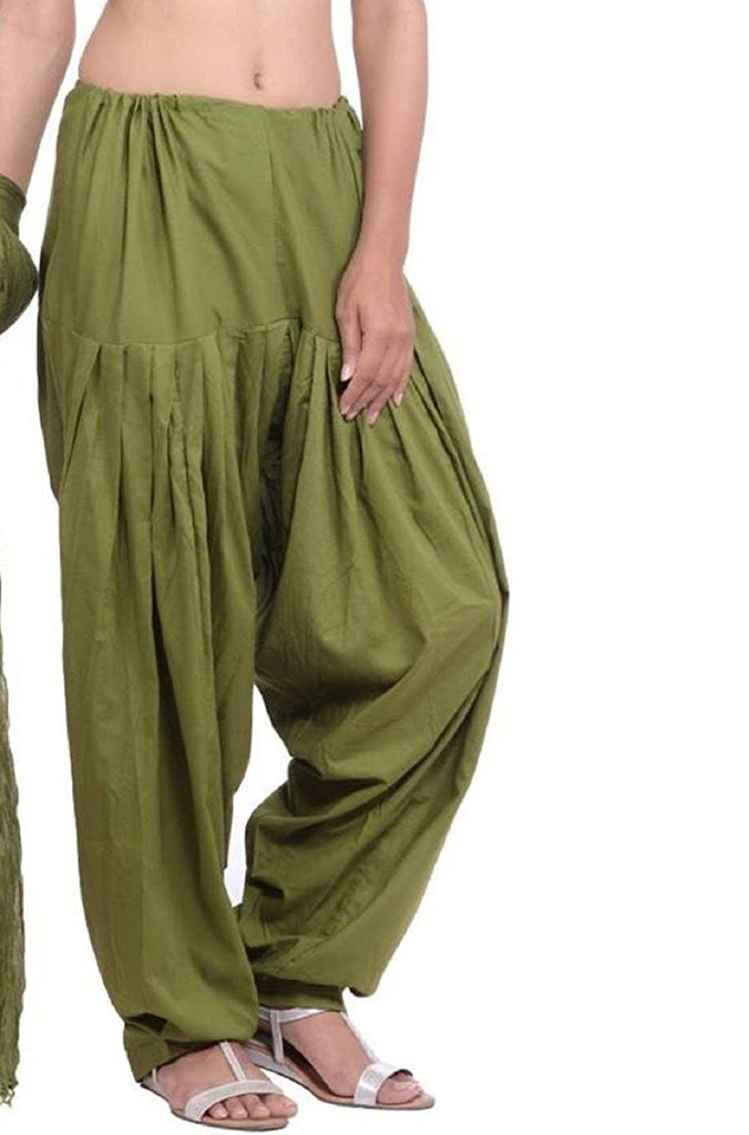 Buy Olive Green Color Cotton Women Patiala Pant