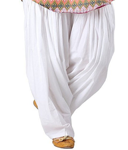White Color Cotton Stitched Women Patiala Pant - Pagrakhi-Cotton-Semi-Patiala1