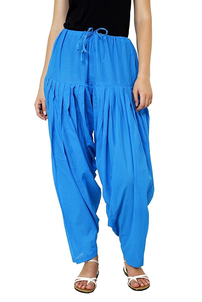 Buy Blue Color Cotton Women Patiala Pant