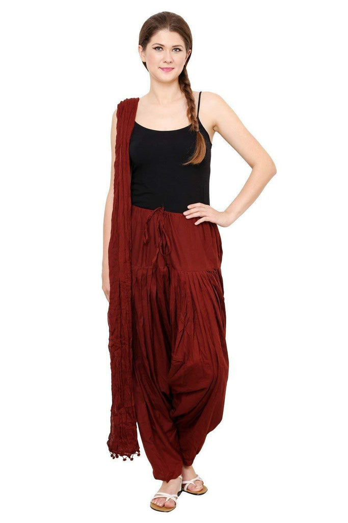 Buy Maroon Color Cotton Semi Stitched Salwar