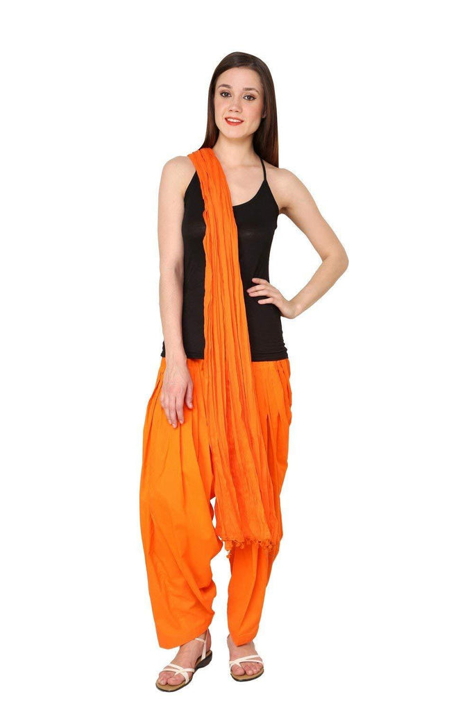 Buy Orange Color Cotton Semi Stitched Salwar