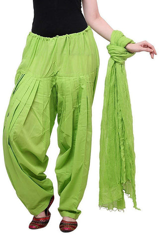 Parrot Green Color Cotton Semi Stitched Salwar - Pagrakhi-Cotton-SemiPatiala32
