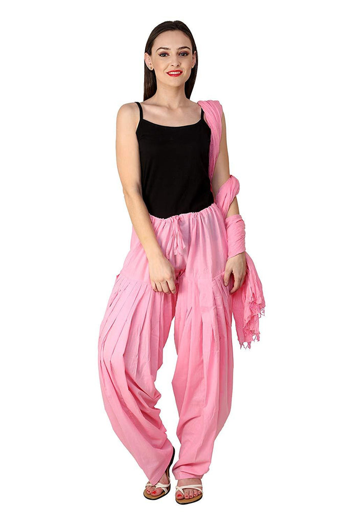 Buy Pink Color Cotton Semi Stitched Salwar