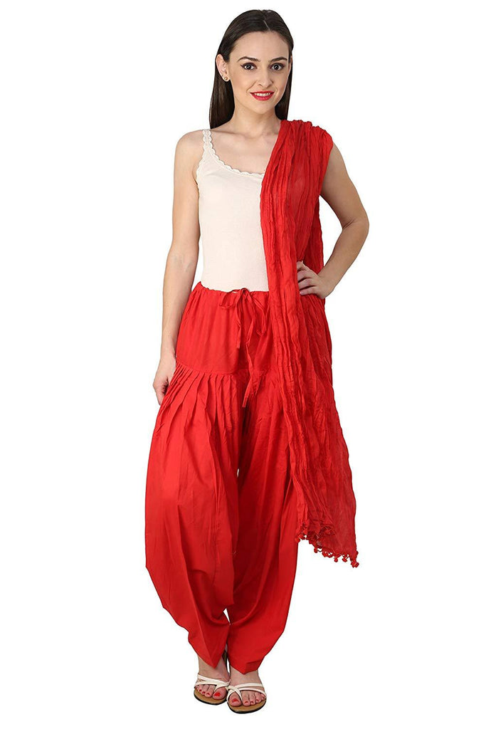Buy Red Color Cotton Semi Stitched Salwar