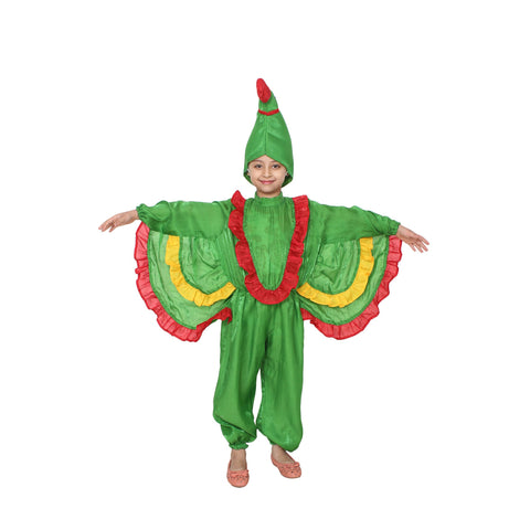Green Color Cotton Blend Fancy Costume Dress  - Parrot-1
