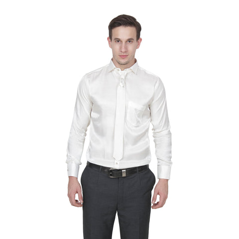 Silver Color Cotton Blend Slim Fit Shirts - Party-Silver