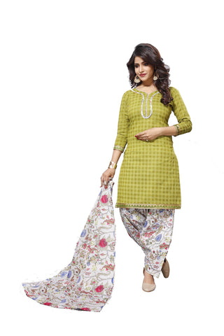 Green Color Cotton  Stitched Salwar  - Patyalahouse-11004