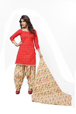 Red Color Cotton  Stitched Salwar  - Patyalahouse-11006
