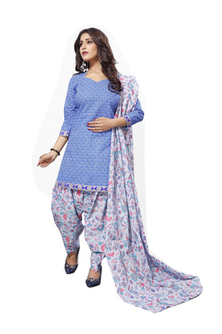 Blue Color Cotton  Stitched Salwar  - Patyalahouse-11007