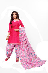 Pink Color Cotton  Stitched Salwar  - Patyalahouse-11009