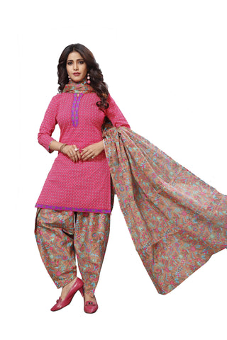 Pink Color Cotton  Stitched Salwar  - Patyalahouse-11010