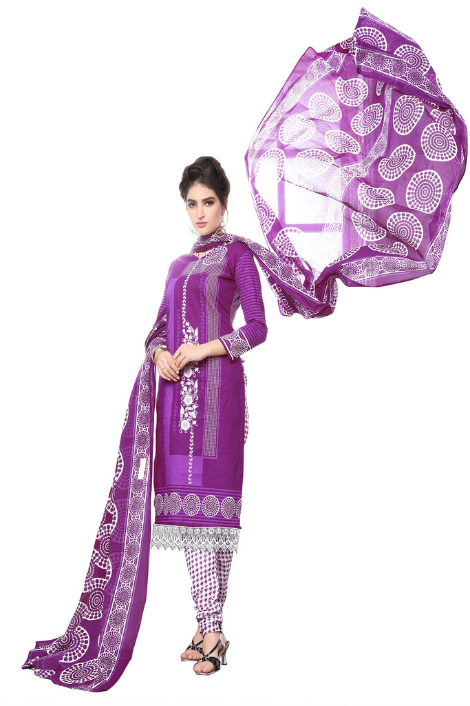Buy Purple Color Cotton Stitched Salwar