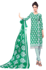 Green Color Cotton Stitched Salwar - Pbeauty-6007