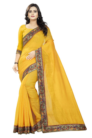 Gold Color Chanderi Saree - Peacock-Gold