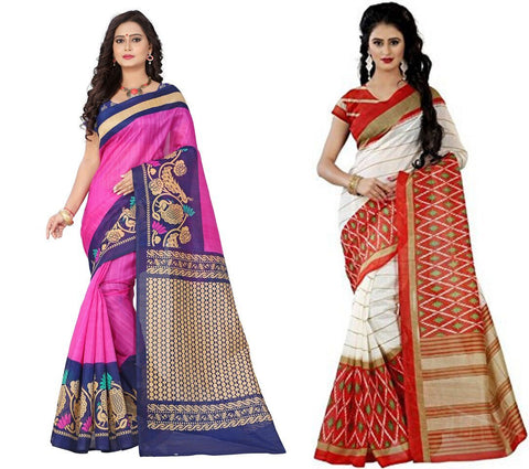 Bhagalpuri Combo Sarees - Peacock-Orange